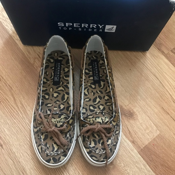 Sperry Other - Girls Sperry Carline Leopard Print Boat Shoes Sz 5